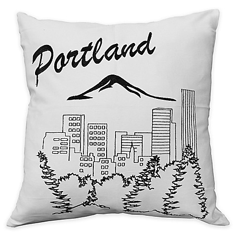 Black Throw Pillows Bed Bath And Beyond : Passport Postcard Portland Square Throw Pillow in Black/White - Bed Bath & Beyond