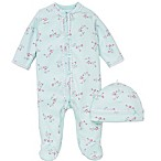 Little Me® Size 9M 2-Piece Floral Spray Footie and Hat Set in Aqua