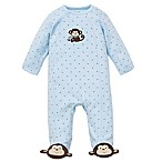 Little Me® Size 6M Monkey Star Side-Snap Footie in Blue