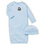 Little Me® 2-Piece Monkey Star Long-Sleeve Gown and Hat Set in Blue