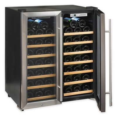 Wine Enthusiast Silent 48 Bottle Dual Zone Wood Shelf Wine Cooler In  Stainless
