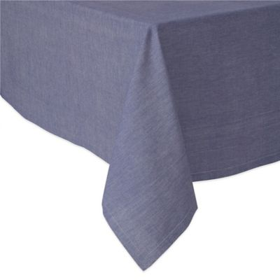 Exceptional Chambray 70 Inch X 108 Inch Oblong Tablecloth In Navy