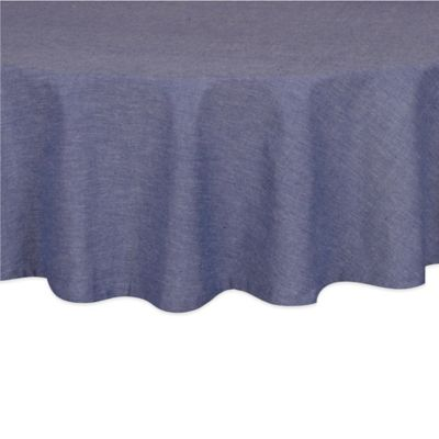 Chambray 70 Inch Round Tablecloth In Navy