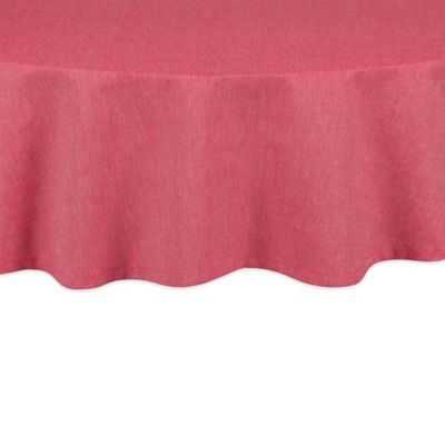 Charming Chambray 70 Inch Round Tablecloth In Red