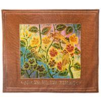 Batik Songbird Motif Hebrew Challah Cover in Rust