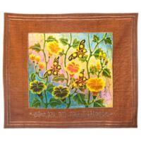 Batik Butterfly Motif Hebrew Challah Cover in Rust