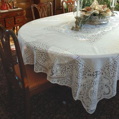Heritage Lace® Canterbury 70 Inch 90 Inch Tablecloth In White