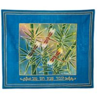 Batik Dragonfly Motif Hebrew Challah Cover in Blue