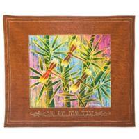 Batik Dragonfly Motif Hebrew Challah Cover in Rust