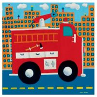 Oopsy Daisy Fire Truck Canvas Wall Art in Red