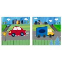 Oopsy Daisy Too Blue Truck and Red Car 2-Piece Canvas Wall Art