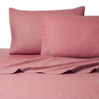 Belle Epoque La Rochelle Collection Gingham Heathered Flannel Queen Sheet Set in Red