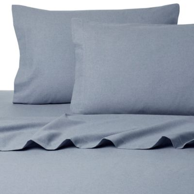 belle epoque la rochelle collection sol heathered flannel full sheet set in blue - Flannel Sheets Queen