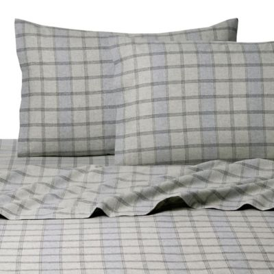 belle epoque la rochelle collection plaid heathered flannel king sheet set in greenblue