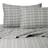 Belle Epoque La Rochelle Collection Plaid Heathered Flannel Queen Sheet Set in Green/Blue