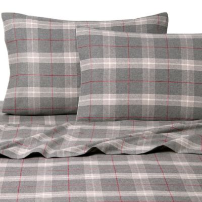 belle epoque la rochelle collection plaid heathered flannel king sheet set in greyred