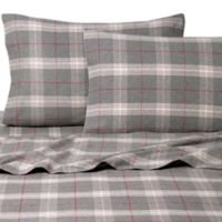 Belle Epoque La Rochelle Collection Plaid Heathered Flannel King Sheet Set in Grey/Red