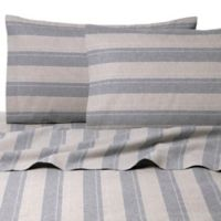 Belle Epoque La Rochelle Collection Plaid Heathered Flannel Twin Sheet Set in Grey/Tan