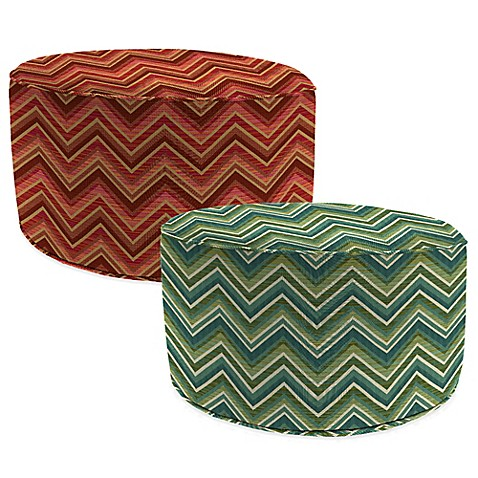 Outdoor round pouf ottoman in sunbrella fischer bed for Ulani outdoor round pouf ottoman