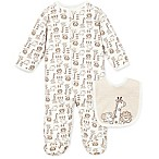 Little Me® Preemie 2-Piece Safari Footie and Bib Set in Ivory/Brown