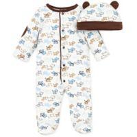 Little Me® Preemie 2-Piece Cute Puppies Footie and Hat Set in Ivory/Brown