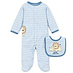 "Little Me® Preemie 2-Piece Lovable Lions ""Daddy Loves Me"" Footie and Bib Set in Light Blue"