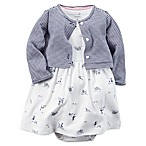 Carter's® Size 3M 2-Piece Bike Dress and Cardigan Set in Navy/White