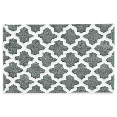 Jessica Simpson 21 Inch x 34 Inch Quatrefoil Bath Rug in Grey White. Buy Gray Cotton Bath Rugs from Bed Bath  amp  Beyond
