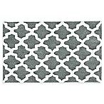 Jessica Simpson 21-Inch x 34-Inch Quatrefoil Bath Rug in Grey/White