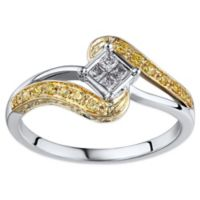 10K White and Yellow Gold .25 cttw White and Yellow Diamond Size 6 Wrapped Promise Ring