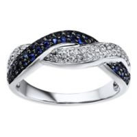 10K White Gold .10 cttw Diamond and Sapphire Crossover Size 6 Ladies' Pave Ring