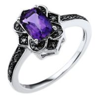 10K White Gold and Black Rhodium .03 cttw Diamond Cushion Cut Amethyst Art Deco Size 6 Ladies' Ring