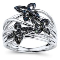 10K White Gold .10 cttw Black, Blue & Green Diamond Butterfly Crown of Butterfly's Size 7 Ring