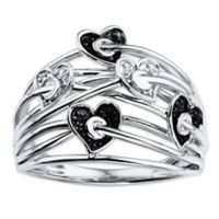 10K White Gold .03 cttw Black and White Diamond Crown of Hearts Size 6 Ladies' Ring