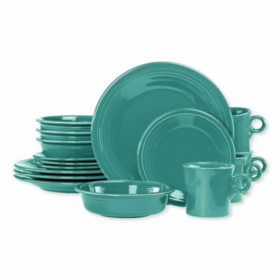 Fiesta® 16-Piece Dinnerware Set in Turquoise  sc 1 st  Bed Bath u0026 Beyond : turquoise dishes dinnerware - pezcame.com