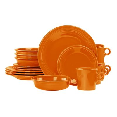 Fiesta® 16-Piece Dinnerware Set in Tangerine  sc 1 st  Bed Bath \u0026 Beyond : cheap fiesta dinnerware - pezcame.com