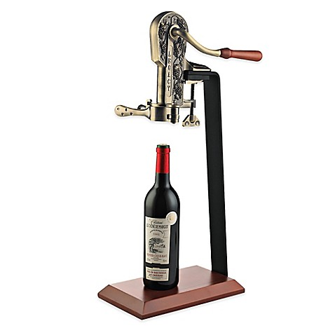 Wine Enthusiast® Legacy Corkscrew in Antique Bronze with Birch Stand