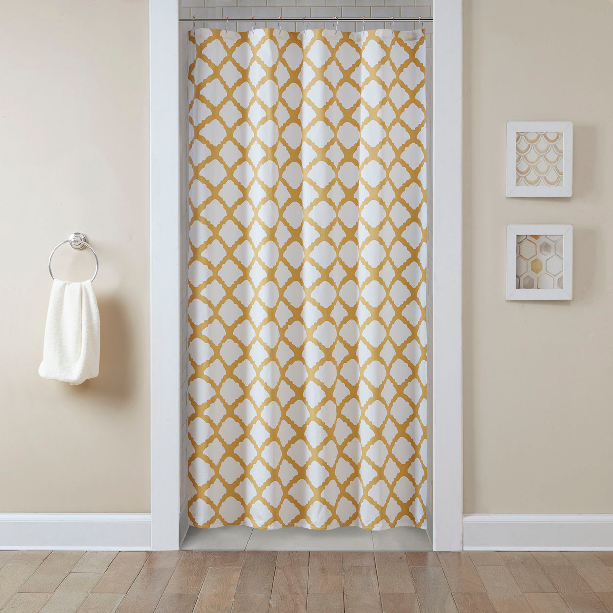 Bright yellow bathroom accessories - Stall Curtains