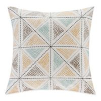 INK+IVY Zelda Embroidered Square Throw Pillow in Blue
