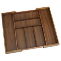 Lipper Acacia Wood Expandable 7-Compartment Flatware Organizer Tray