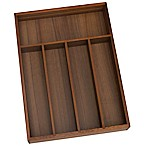 Lipper Small Acacia Wood 5-Compartment Flatware Organizer Tray