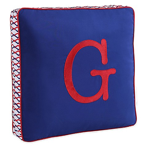 Buy Letter Square Throw Pillow in Blue from Bed Bath & Beyond