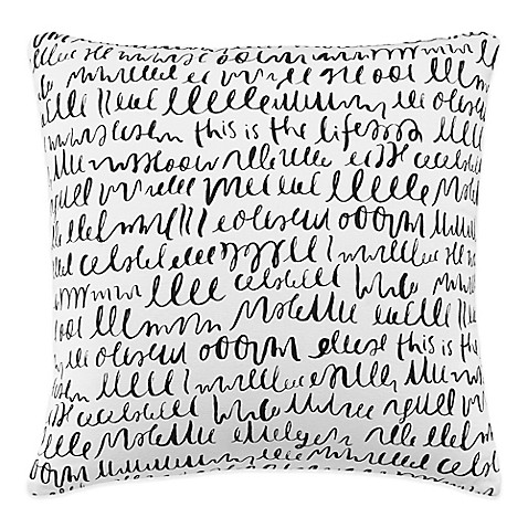 Kate spade new york this is the life square throw pillow in white black
