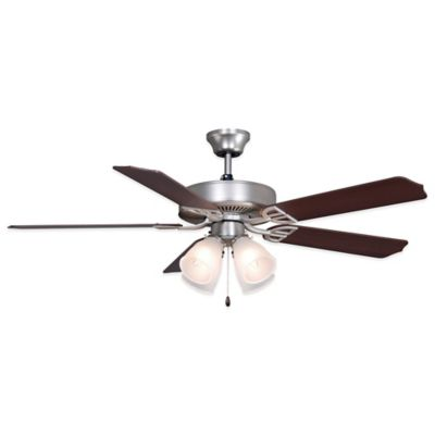 Buy 52 4 light ceiling fan from bed bath beyond fanimation airedcor 52 inch x 187 inch ceiling fan with white glass in satin aloadofball Images