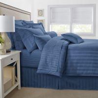 500-Thread-Count Damask Stripe King Pillow Sham in Blue Jean