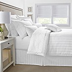 500-Thread-Count Damask Stripe Reversible King Duvet Cover Set in White