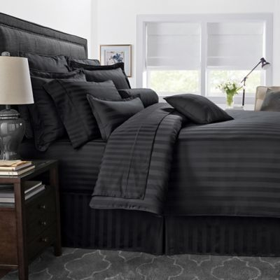 500 Thread Count Damask Stripe Reversible Twin Duvet Cover Set In Black