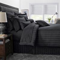 500-Thread-Count Damask Stripe Reversible Twin Duvet Cover Set in Black