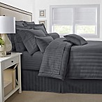500-Thread-Count Damask Stripe Reversible Full/Queen Duvet Cover Set in Grey