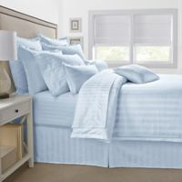 500-Thread-Count Damask Stripe King Pillow Sham in Light Blue